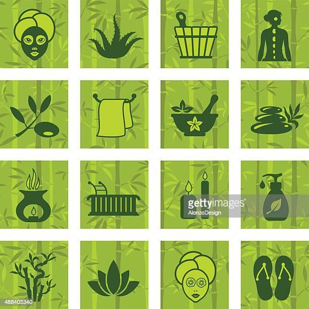 ilustrações de stock, clip art, desenhos animados e ícones de conjunto de ícones de spa - massagista