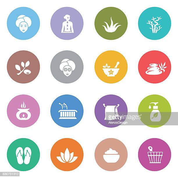 spa icon set - alternative therapy stock illustrations, clip art, cartoons, & icons