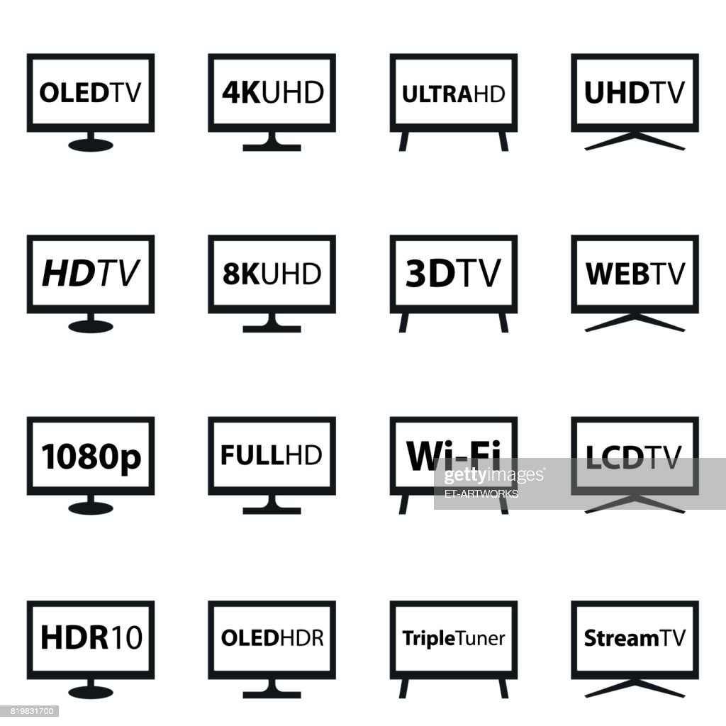 TV Icon Set : stock illustration