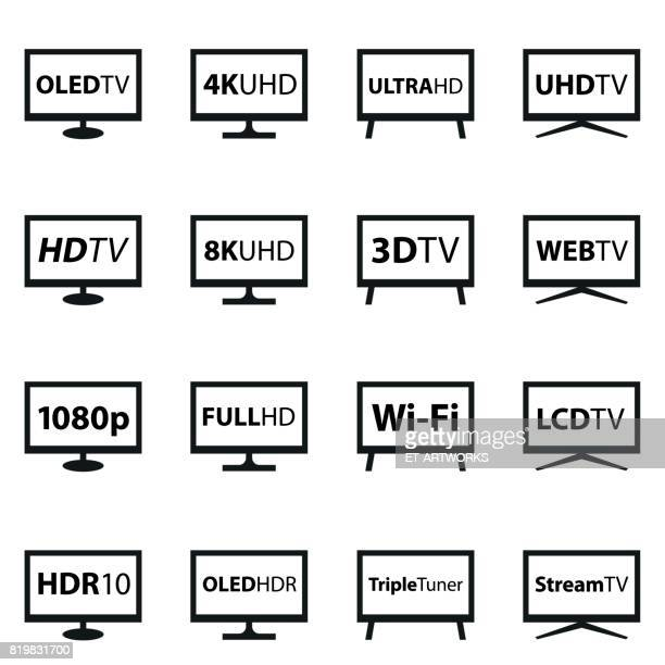 tv icon set - medienwelt stock illustrations