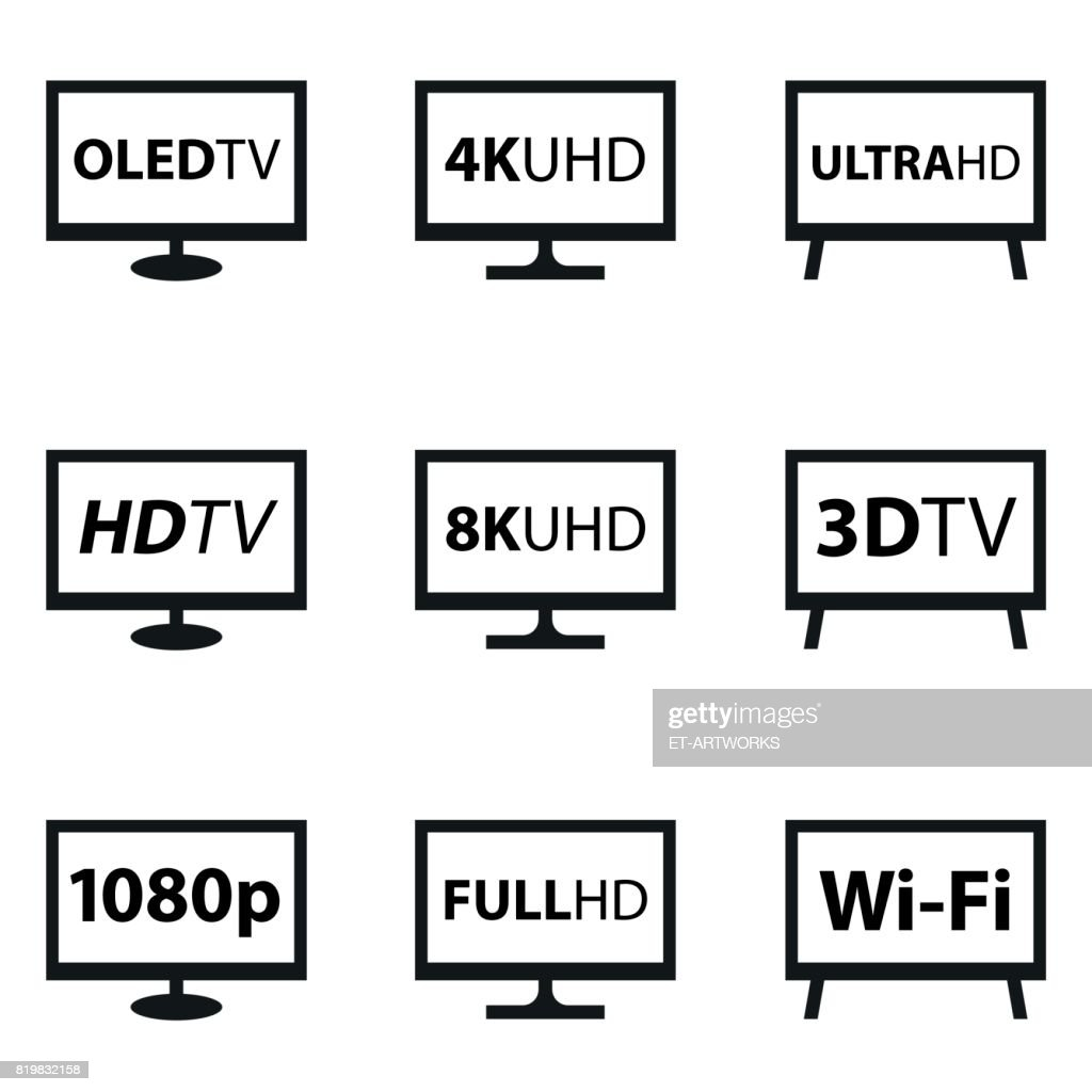 TV Icon Set : stock illustration