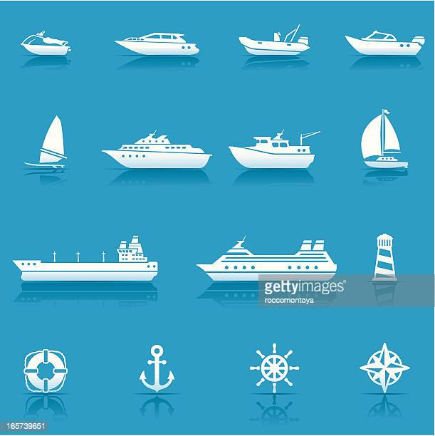 icon-set, water transport - fähre stock-grafiken, -clipart, -cartoons und -symbole