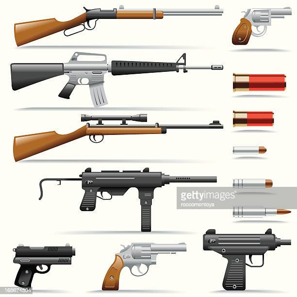 icon set, weapons - submachine gun stock illustrations, clip art, cartoons, & icons