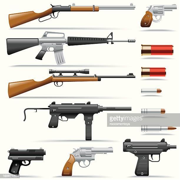 ilustraciones, imágenes clip art, dibujos animados e iconos de stock de conjunto de iconos de armas - submachine gun