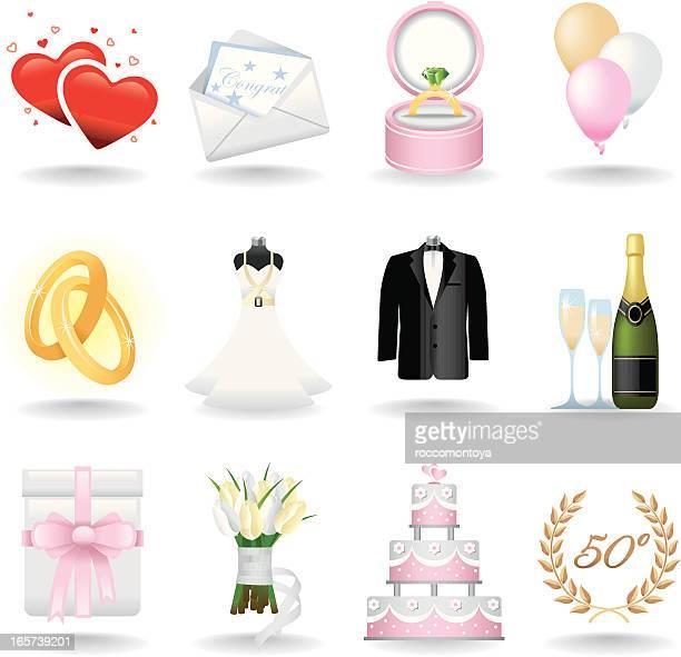 icon set, wedding - married stock illustrations