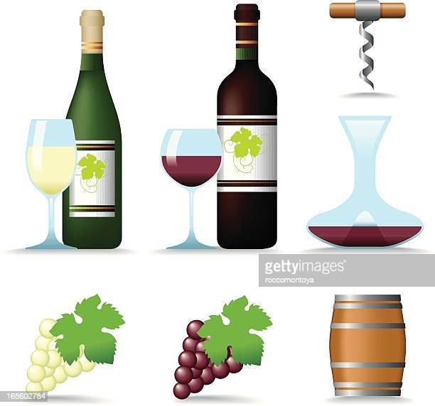 icon set, wine - cork stopper stock illustrations, clip art, cartoons, & icons