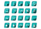 Icon set with computer symbols, green skew icons, long shadow, white pictograms