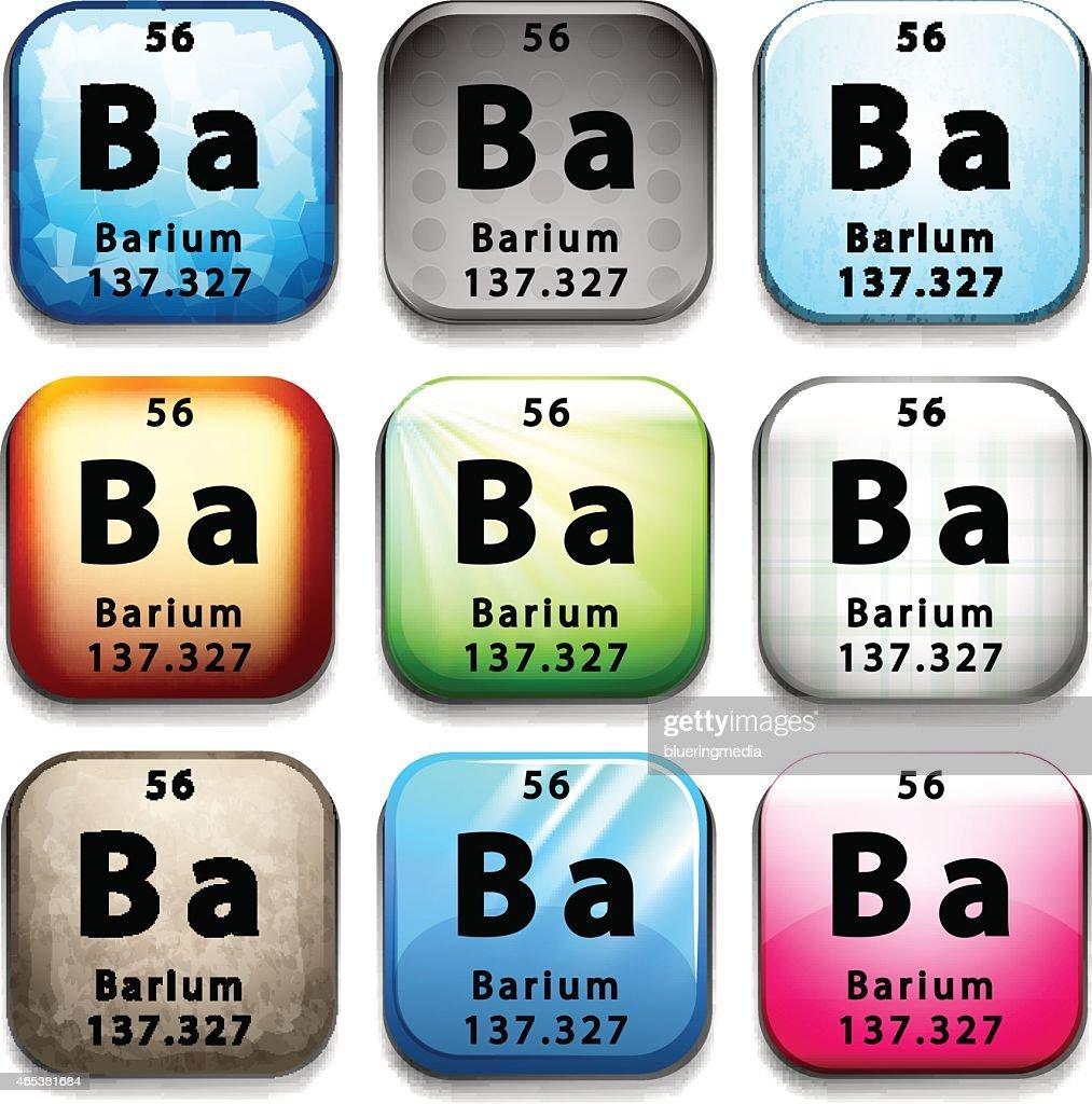 Icon showing the element Barium