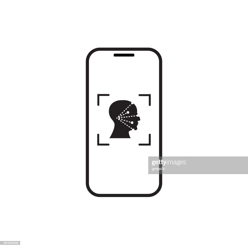 Icon Smart Phone Scan Face Recognition System Biometric Identification Concept