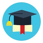 Icon square academic hat of graduate.