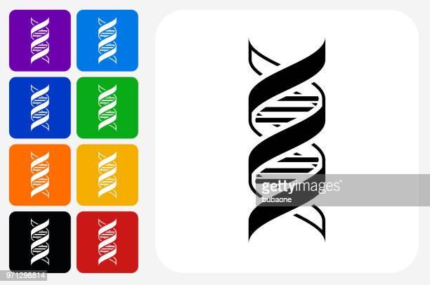 dna-symbol square buttonset - helix stock-grafiken, -clipart, -cartoons und -symbole