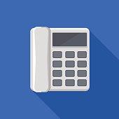 Icon square shape of landline phone in flat design