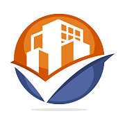 icon symbol business development of construction services with good management concept, illustrated with building and checkmark
