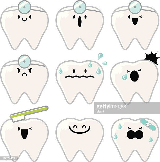 icon ( emoticons ) - tooth character - toothache stock illustrations, clip art, cartoons, & icons
