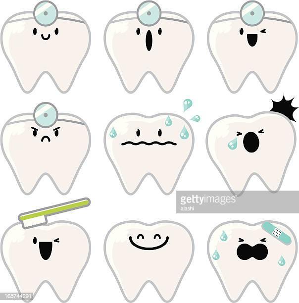 ilustraciones, imágenes clip art, dibujos animados e iconos de stock de el icono (emoticons) dientes caracteres - dolordemuelas