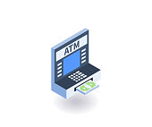 ATM icon. Vector illustration in flat isometric 3D style.