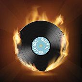 Icon vinyl record on fire.