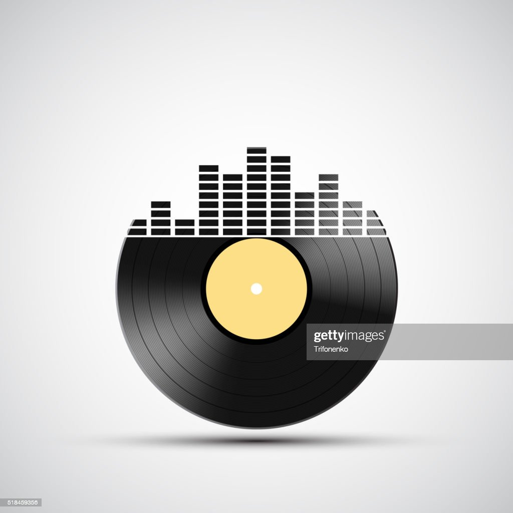 Icon vinyl record with a sound equalizer.
