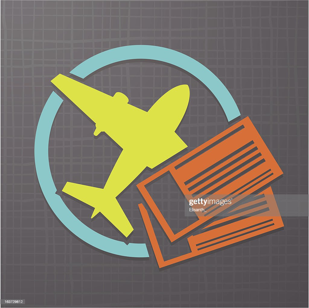 Icon with airplane and air tickets