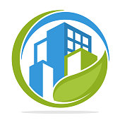 Icon  with green city management concept