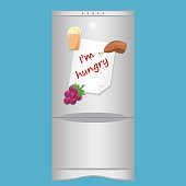 Icon with refrigerator end blank note 'I'm hungry' on magnets