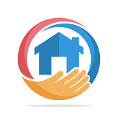 icon with the concept of home care, home insurance