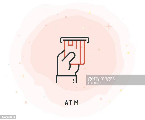 ATM Icon with Watercolor Patch