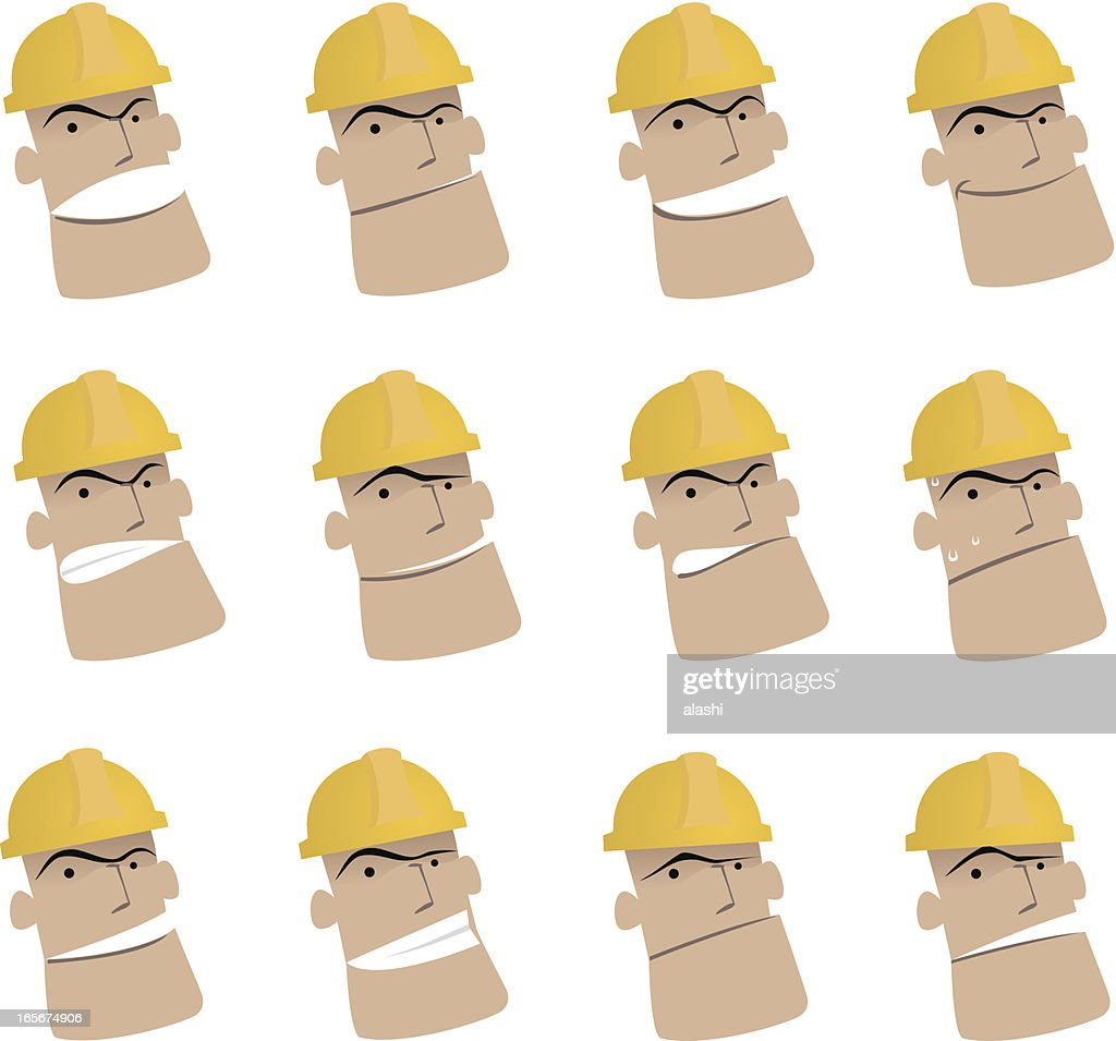Icon ( Emoticons ) - Worker in various moods ( Mad, Smiling, Sadness )