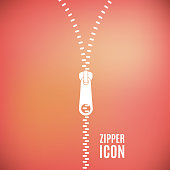 Icon zipper. Zippered lock and unlock. Closed and open zipper. Fastener. Blurred background. Vector illustration