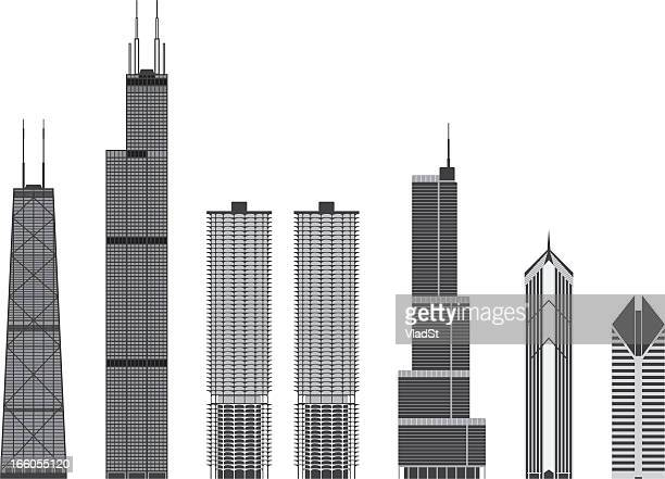 iconic buildings of chicago - trump international hotel & tower chicago stock illustrations