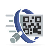 iconic icon with the concept of searching for qr-code label