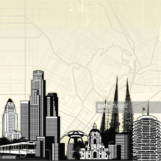 iconic los angeles - hollywood california stock illustrations