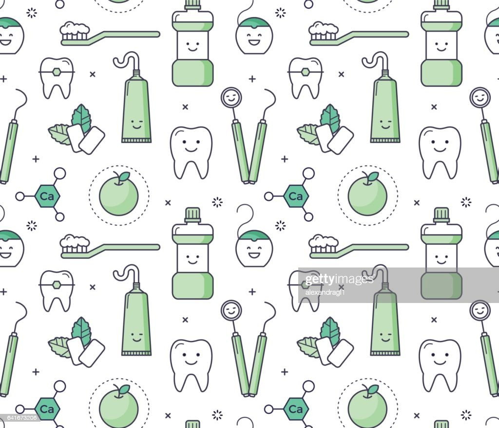 Iconic seamless Pattern about dentistry for kids