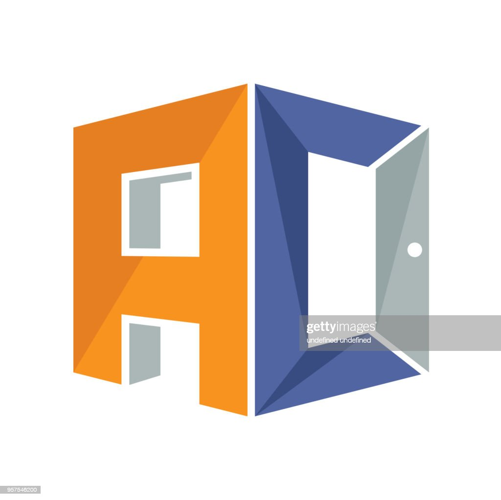 iconic symbol with a combination of open door concept and initial letter A&C