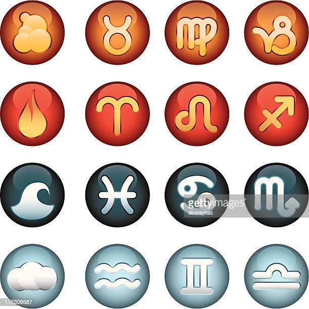 iconos del zodiaco - the four elements stock illustrations