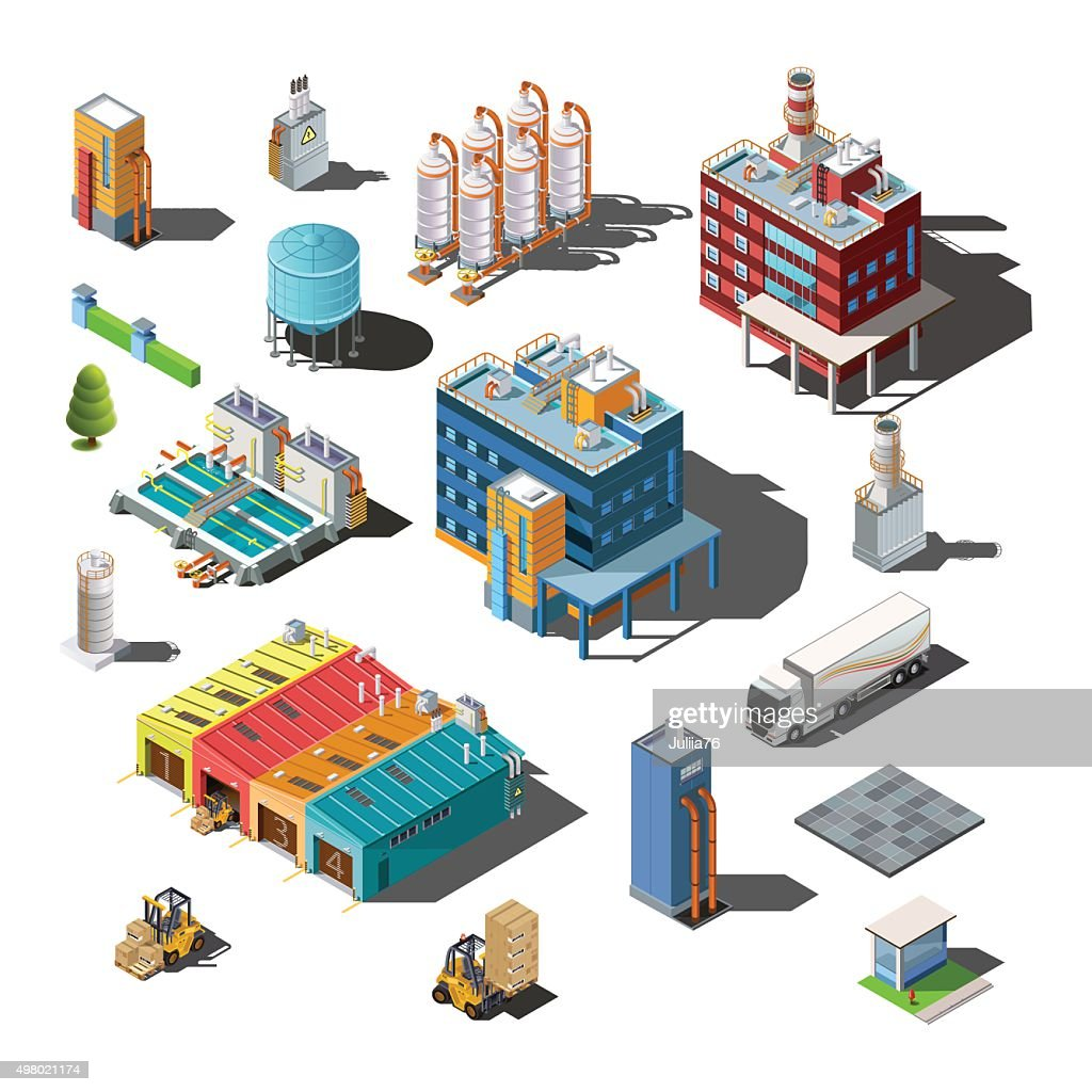 Icons and compositions of industrial subjects, isolated constructions