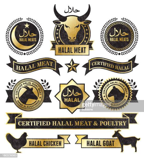 icons and stickers representing certified halal meat. - great seal stock illustrations, clip art, cartoons, & icons