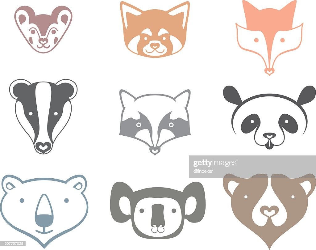 Icons animals head.