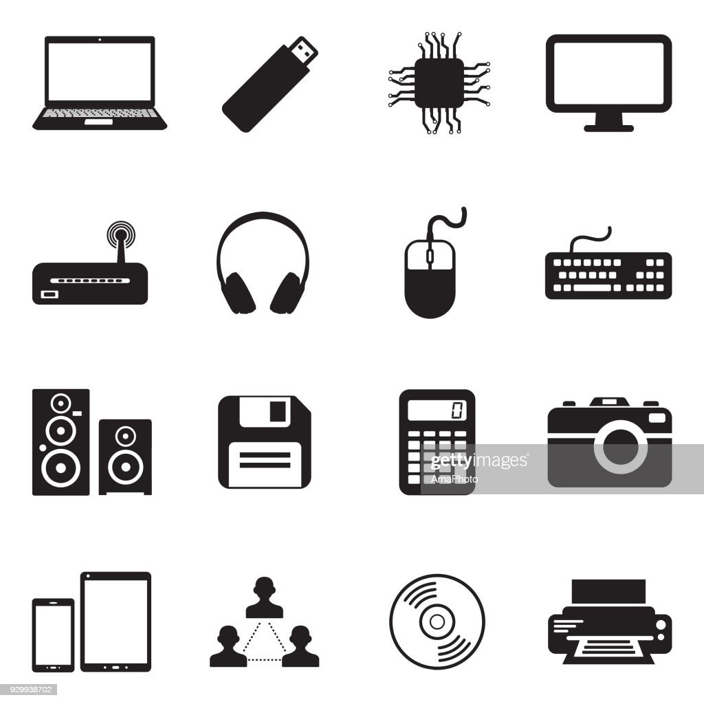 IT Icons. Black Flat Design. Vector Illustration.