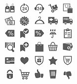 Icons, buy, online store, discounts, protection, payment, delivery, monochrome.