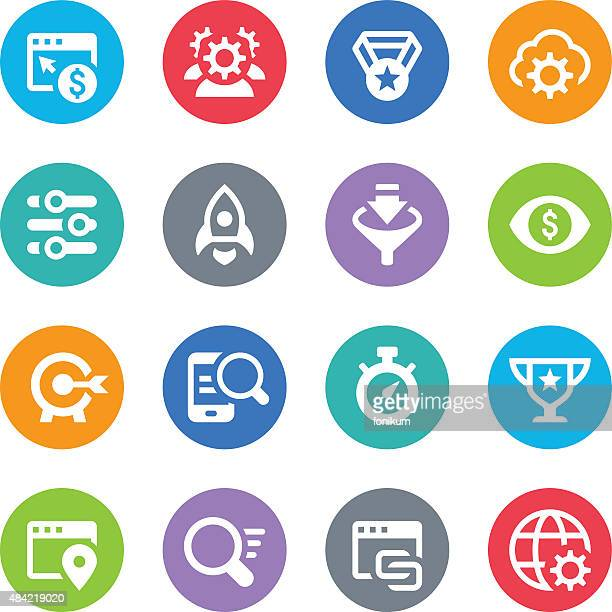 seo icons - circle illustrations - online advertising stock illustrations, clip art, cartoons, & icons