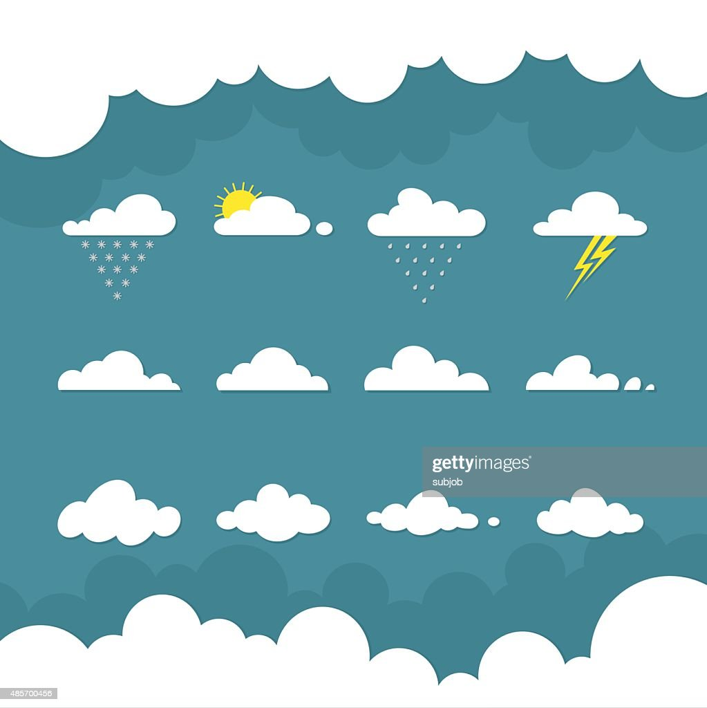 Icons cloud for your design. weather forecast. flat illustrations