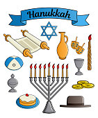 Icons collection of the Jewish holiday Hanukkah. Traditional candlestick, candle, star of David, hat, donut, cup of wine, jug of oil, top with Hebrew letters, Torah scroll, incense box. Vector