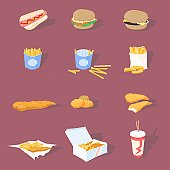 Icons depicting various fast foods