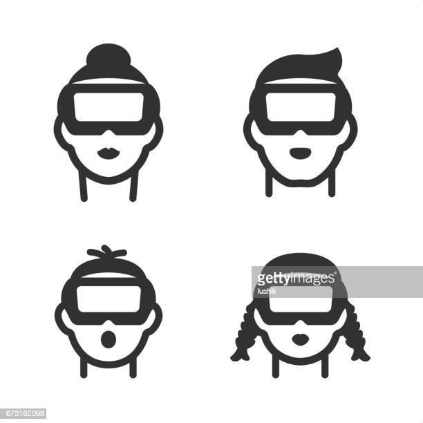 VR icons. Family with Virtual Reality headsets.