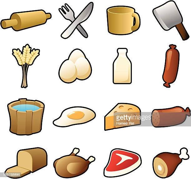 icons -  farmers meal - t bone steak stock illustrations, clip art, cartoons, & icons