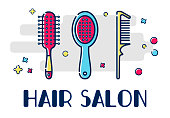 Icons for barber shop. Tools for the master in the beauty salon. Round comb, massage and scallop. Template greeting card or greeting card with a place for text.
