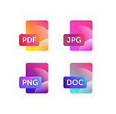 Icons for expanding formats. File Icons. Vector flat icons with gradient, isolated on white background. Fashionable style. Icons for website and print. Icons of files png, jpg, doc, pdf.
