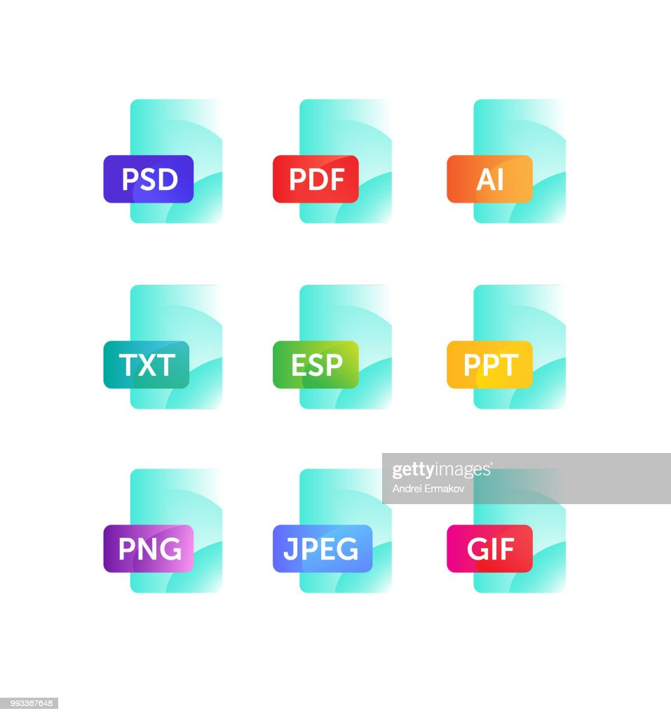 Icons for expanding formats. File Icons. Vector flat icons with gradient, isolated on white background. Fashionable style. Icons for website and print. Icons of files png, jpeg, ai, esp, txt, gif,  psd, pdf.