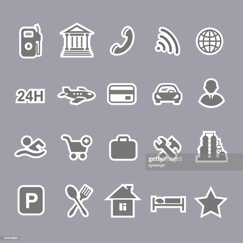 Icons for locations and services  airport shopping restaurant  hotel gas